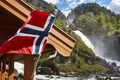 Norwegian twin waterfall. Norway flag. Latefossen. Visit Norway. Highlight