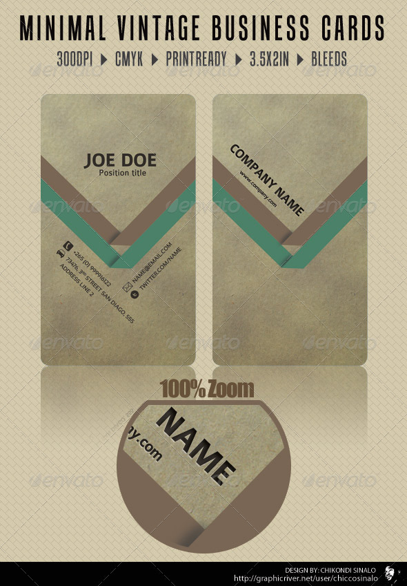 Minimal Vintage Business Card - GraphicRiver Item for Sale