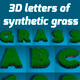 3D Letters of Synthetic Grass