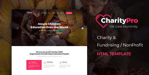 Charity Pro - Responsive HTML Template for Charity & Fund Raising