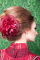Gorgeous hairstyle in vintage interior