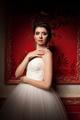 Gorgeous bride in red vintage interior