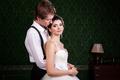 Beautiful inlove bride and groom in vintage interior