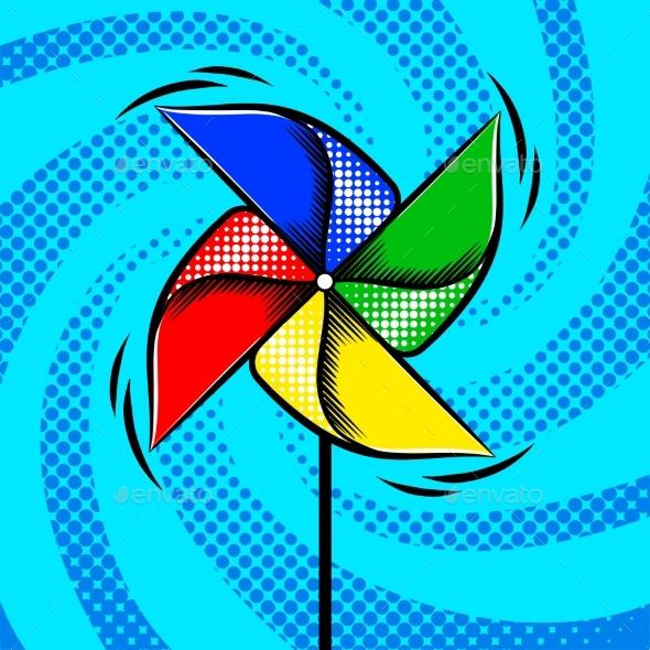 Toy Vane Pop Art Style Vector Illustration