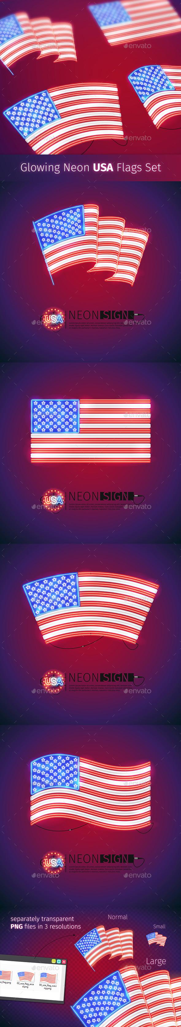 Glowing Neon USA Flags Set