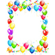 Birthday Balloons and Confetti on White Background