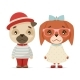 Puppy Dogs Boy and Girl Geek Hipster Mascots