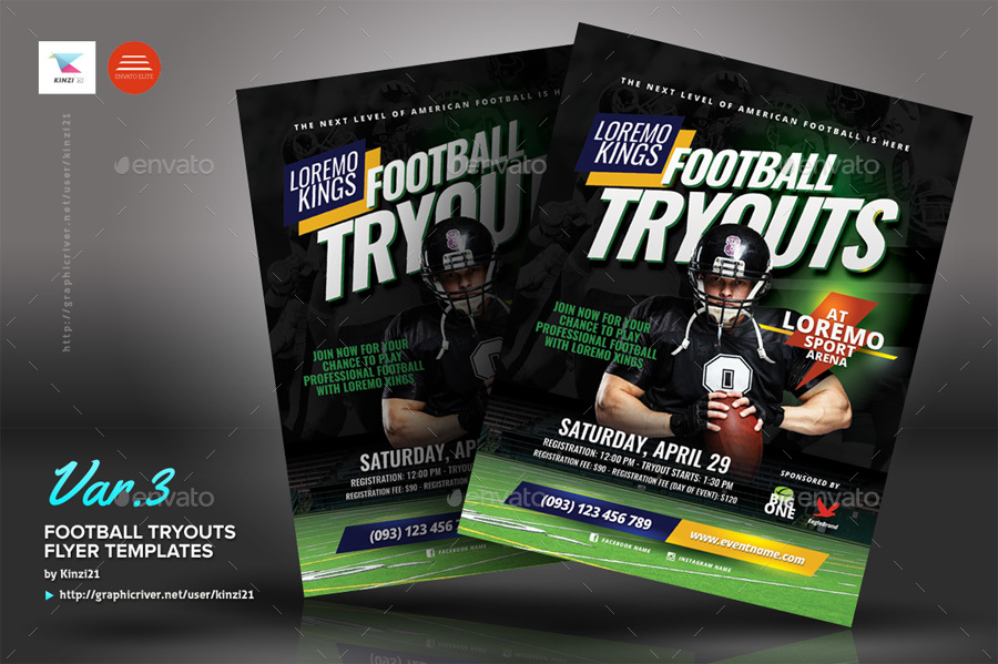 football tryouts flyer templates by kinzi21