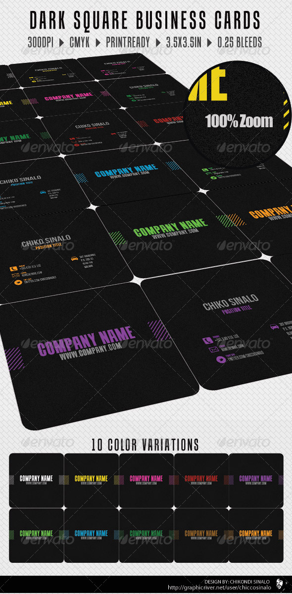 Dark Square Business Card - Corporate Business Cards