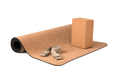 Yoga Cork Mat Set Eco Friendly on White Background