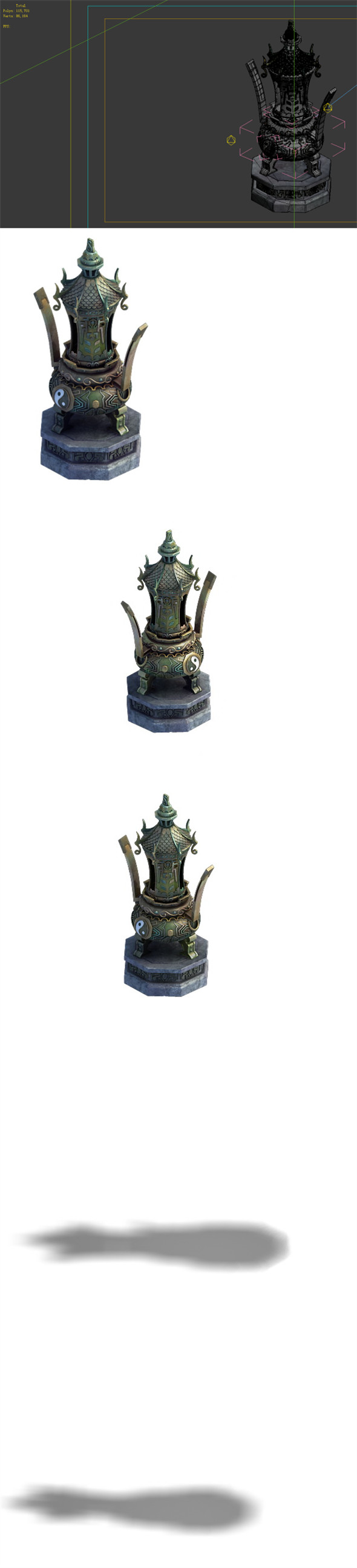 3DOcean Game Model Taoist comprehension scene incense burner stove large decorative stove 01 19836996