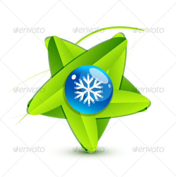 Green leaf symbol with snowflake