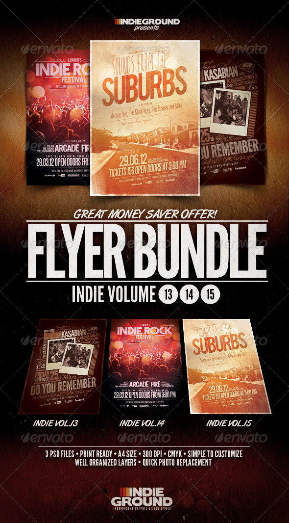 Indie Flyer/Poster Bundle Vol. 13-15 - Flyers Print Templates