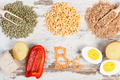 Products and ingredients containing vitamin B6 and dietary fiber, healthy nutrition