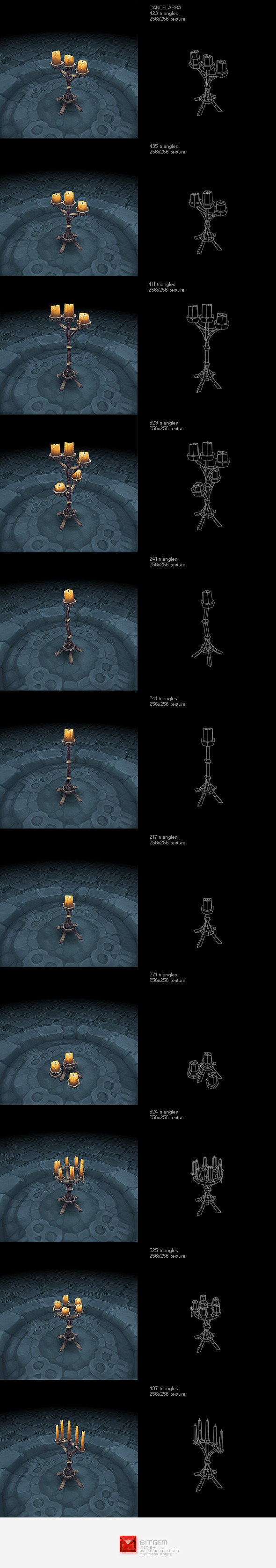 Low Poly Candelabra Set
