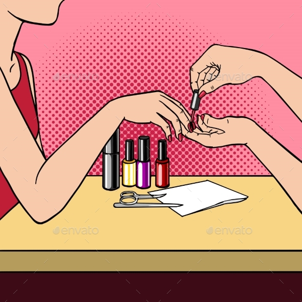 Woman Making Manicure Pop Art Style Vector
