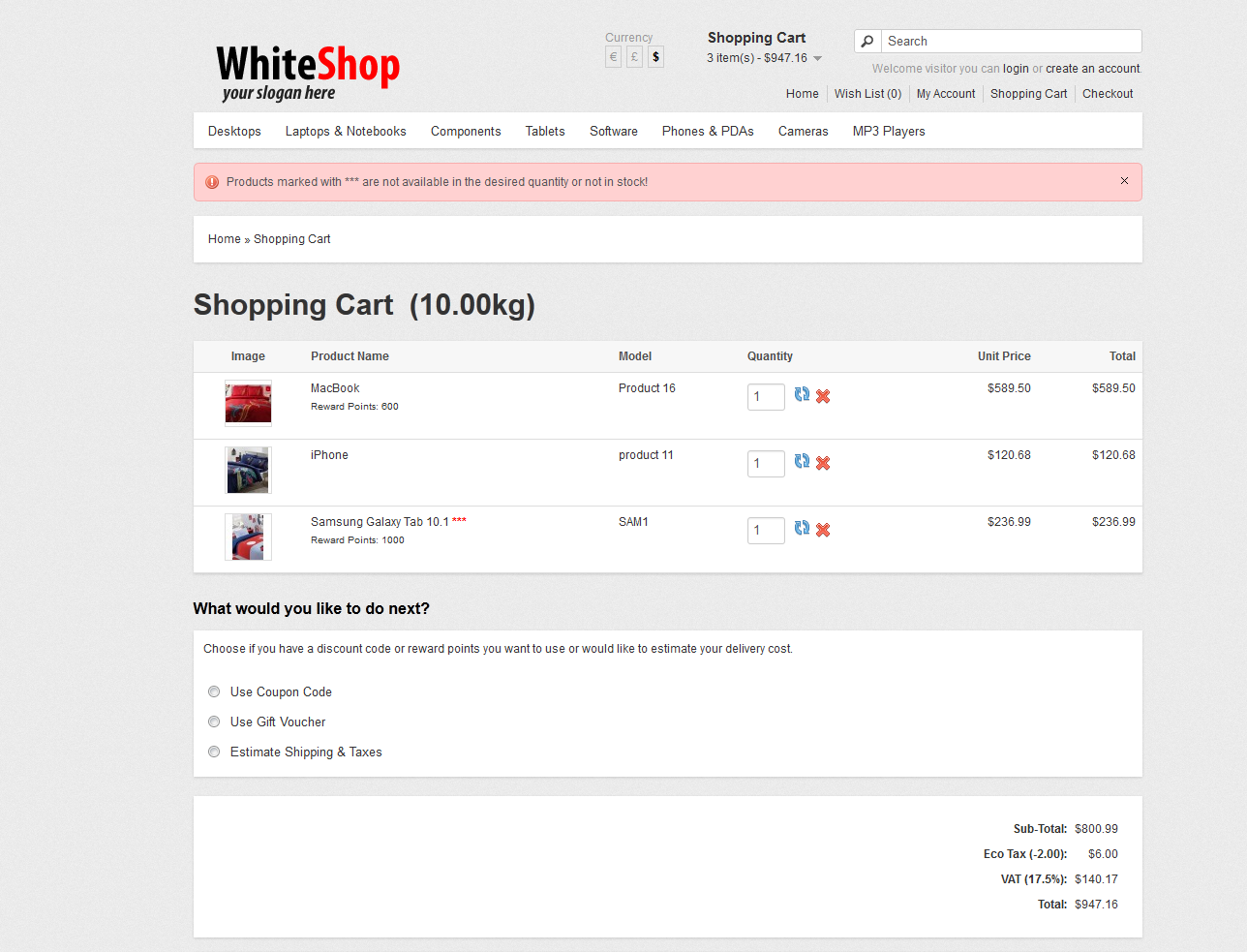WhiteShop - Opencart 1.5.2 Theme