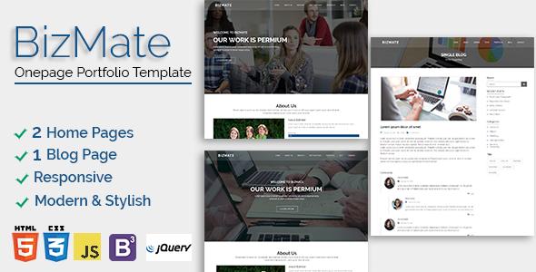 Download Bizmate - One page Portfolio Template