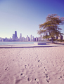 Retro toned photo of Chicago city from Lake Michigan beach, USA