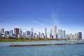 Chicago waterfront and city skyline on a sunny day, USA