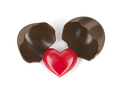 Chocolate egg and red heart