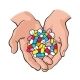 Two Cupped Hands Holding Handful of Pills