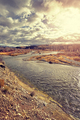 Vintage toned Snake River in the Grand Teton National Park at su