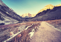 Vintage toned path to Maroon Bells at sunrise, Colorado, USA