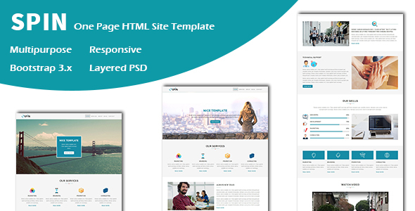 Download Spin - Multipurpose Responsive One page HTML Template