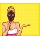 Pop Art Blond Woman Holding a Mask in Her Hand