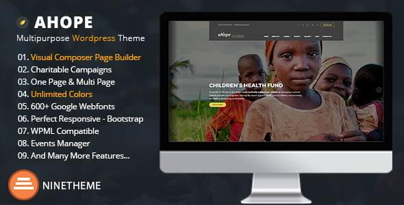 Ahope - A Best WordPress Theme for Non-Profit Organizations