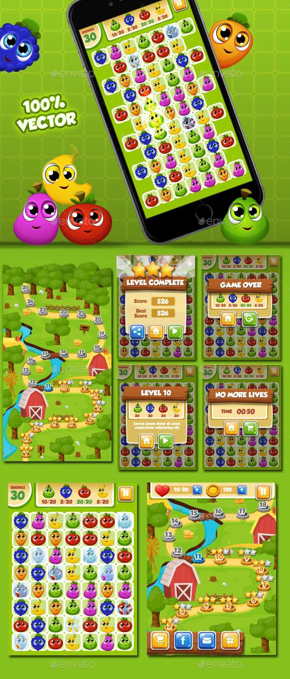 Match 3 - Set Fruits (Game Kits)