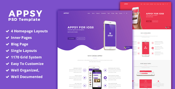 APPSY – App Landing Web page  PSD Template (PSD Templates)