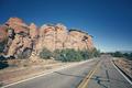 Retro toned scenic road, travel concept background, Colorado, US