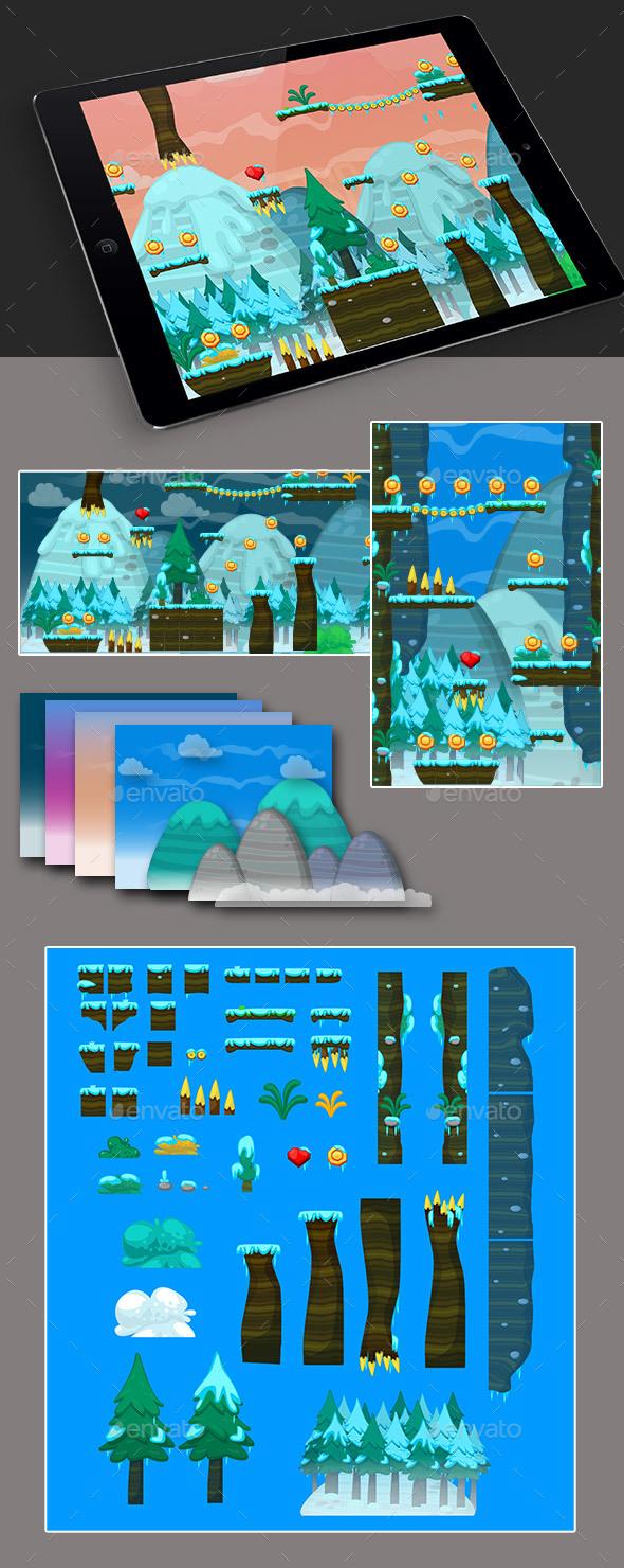 2D Ice Game Platformer Tilesets (Tilesets)