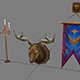 Game Model Arena - gizmos shield decorations candlestick antlers 01