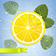 Lemon with Mint Leaves and Water Drops