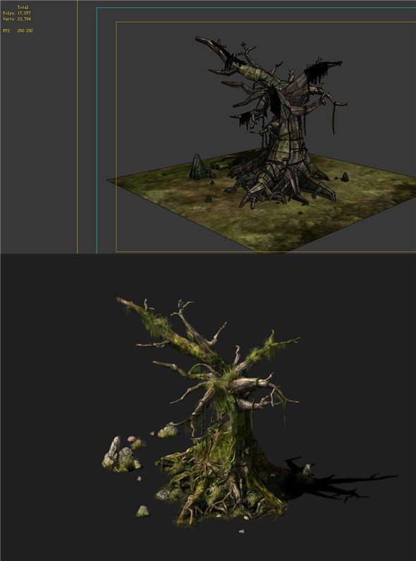 3DOcean Game Models poison Valley scene dead tree covered with thorns moss decay 01 19851539