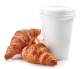 paper cup of coffee and croissants