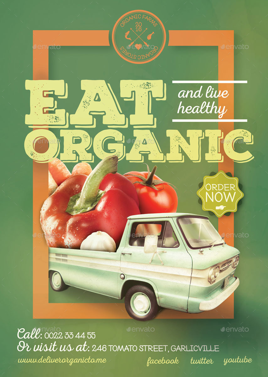 Organic food poster flyer template by CreativeForm – Food Flyer Template