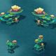 Submarine cartoon world - coral lotus leaf
