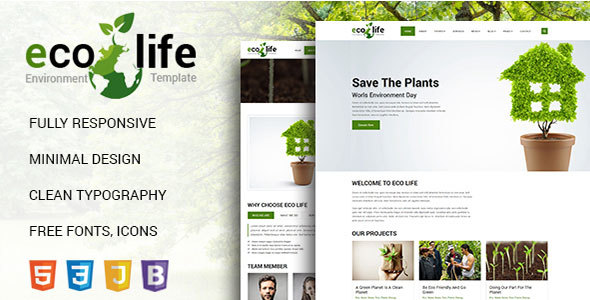 Image of Eco Life Environmental HTML 5 Template