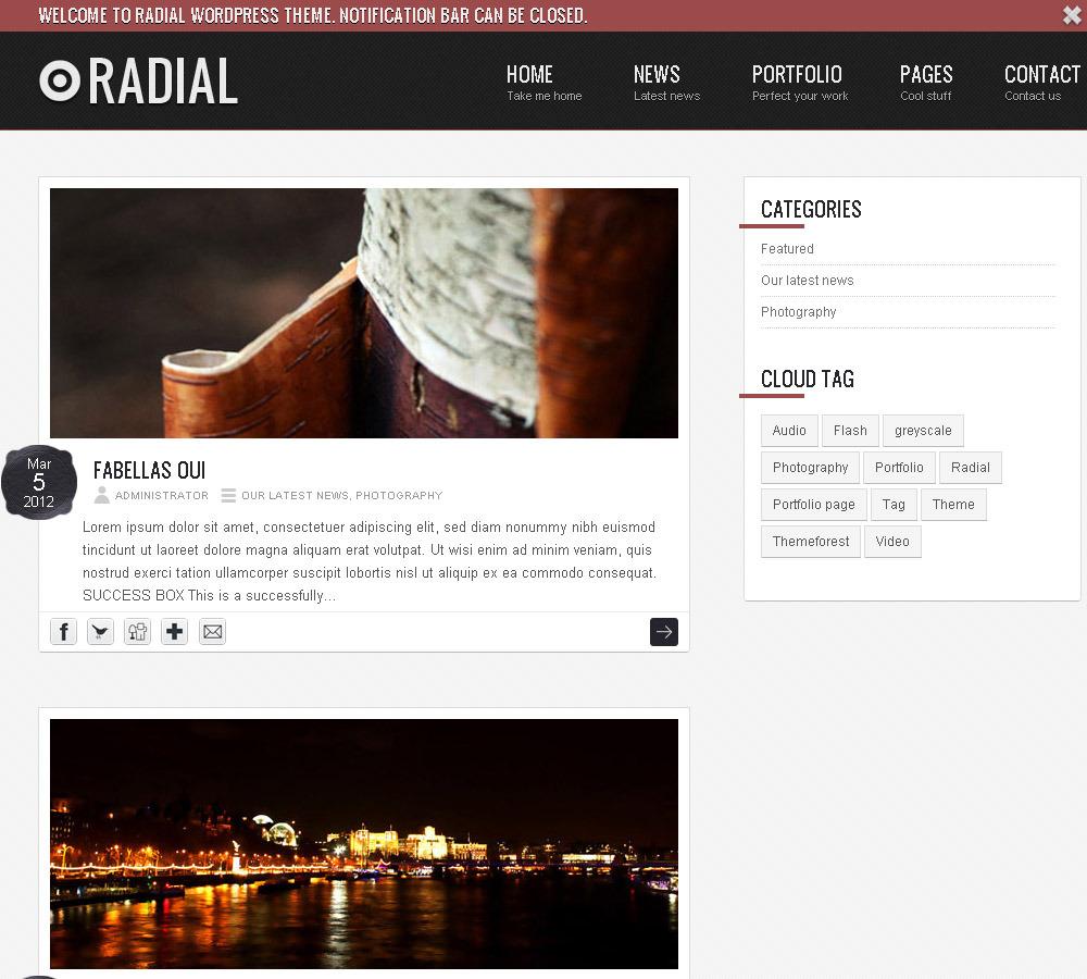Radial - Blog HTML / CSS Website Template