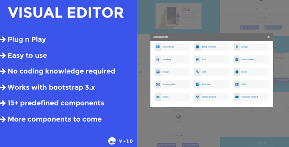Visual editor - A drupal 8.x page builder