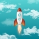 Background with Retro Space Rocket Ship