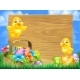 Chicks and Easter Eggs Basket Sign