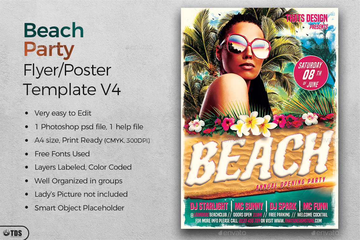 Beach Party Flyer Template V4 by lou606 – Beach Party Flyer Template