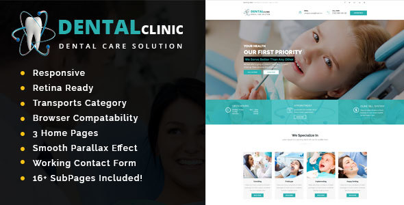Dental Clinic - Health And Medical HTML Template