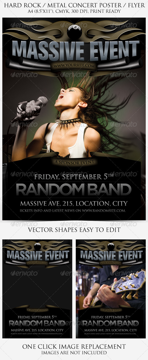 Hard Rock Metal Poster and Flyer
