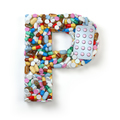 Letter P. Set of alphabet of medicine pills, capsules, tablets a